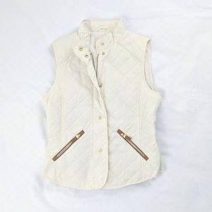 Zara Off White Quilted Puffer Vest With Gold Trim